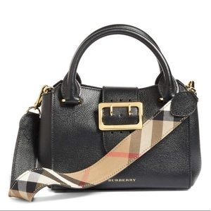 🆕 Burberry Small Black Buckle Leather Satchel Bag